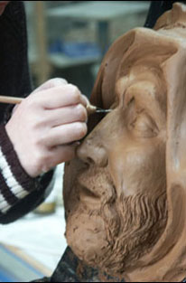 mascaron in clay modelling
